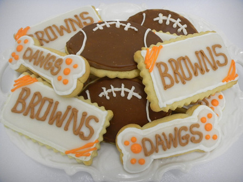 "Our Specialty ""Butter"" cookies are made with butter and will simply melt into your mouth leaving you wanting another cookie. Specially decorated for ""Cleveland"" sports!  Who doesn't love their home team.  Order for half time treats, or for your tailgate party!"