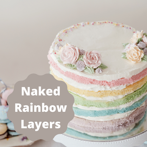 """Moist white cake colored in pastels and creamy buttercream frosting in between each layer and on top.  Sides are left unfrosted for the """"naked cake"""" look."""