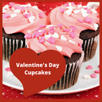 Moist chocolate cupcakes topped with pink buttercream frosting and Valentine's Day Sprinkles! Order for dessert for the whole family!