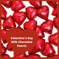 Creamy milk chocolate red foiled hearts.  Add to your candy dish and share with others or eat them all yourself.