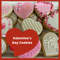 Valentine's Day heart butter cookies.  Made with the finest ingredients that will leave you wanting to eat the whole box.