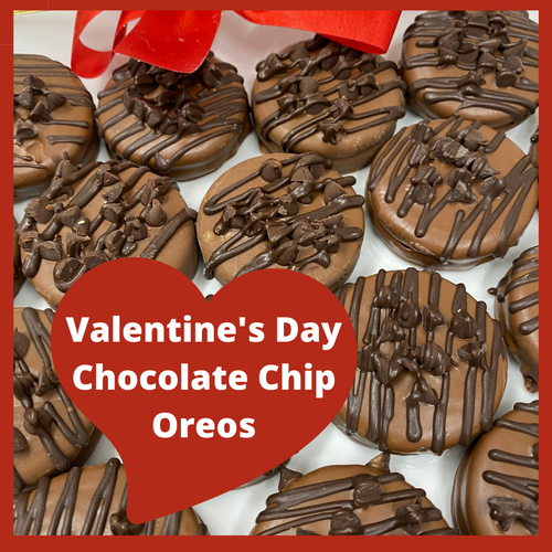 Chocolate dipped oreos topped with chocolate chips all in one bite!  Get out the milk and eat the whole box!