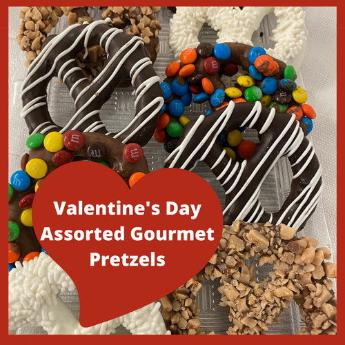 A combination of crispy and creamy, milk chocolate covered large salted gourmet pretzels are guaranteed to please... making your mouth water for more!!  Embellished with different toppings making each one delicious!