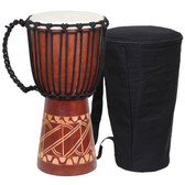 Tribal Carved Djembe Drum with Bag