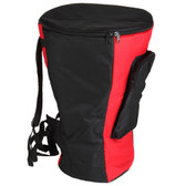 X8 Drums Heavy Duty Djembe Gig Bag, Red/Black, Large