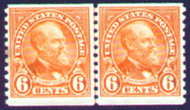 # 723 F-VF OG NH Line Pair,  small stain