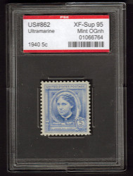 # 862 XF-SUPERB OG NH, w/PSE (ENCAPSULATED (GRADED 95)), Fresh
