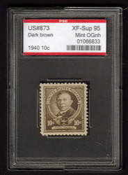 # 873 XF-SUPERB OG NH, w/PSE (ENCAPSULATED (GRADED 95)), Fresh