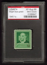 # 874 XF-SUPERB OG NH, w/PSE (ENCAPSULATED (GRADED 95)), Fresh