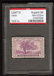 # 772 SUPERB OG NH, w/PSE (GRADED 98 ENCAPSULATED)