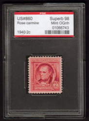 # 860 SUPERB OG NH, w/PSE (ENCAPSULATED (GRADED 98 (08/06)) CERT, TOP OF THE LINE!
