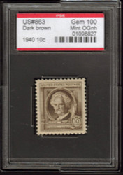 # 863 GEM OG NH, w/PSE (GRADED 100, ENCAPSULATED), perfection! Tough value to find in 100,