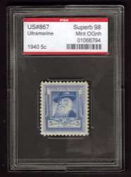 # 867 SUPERB OG NH, w/PSE (GRADED 98, ENCAPSULATED) TOP OF THE LINE!