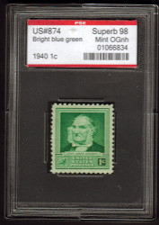 # 874 SUPERB OG NH, w/PSE (GRADED 98,ENCAPSULATED), TOP OF THE LINE!
