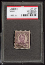 # 661 XF OG NH, w/PSE (GRADED 90, ENCAPSULATED), a nice big stamp,  Fresh!