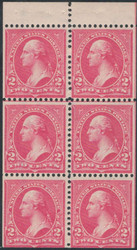 # 279Bk VF+ OG NH, a select NH booklet pane, the first booklet pane issue, very well centered for the notorious poorly centered pane, Choice!