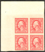 # 482 XF OG Hr, Corner Margin Block, 3 stamps NH, wonderful color and SCARCE corner margin block!