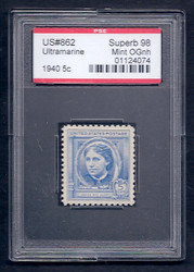 # 862 SUPERB OG NH, w/PSE (GRADED 98, ENCAPSULATED),