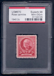 # 870 SUPERB OG NH, w/PSE (GRADED 98, ENCAPSULATED),