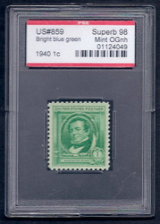 # 859 SUPERB OG NH, w/PSE (GRADED 98, ENCAPSULATED),