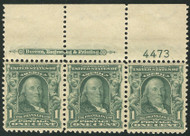 # 300 VF/XF OG NH, Top Imprint and Plate Number Strip of 3, Fresh!