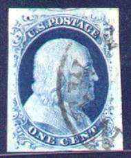 #   9 SUPERB JUMBO, very nice town cancel, light scissors cut at top left, Choice