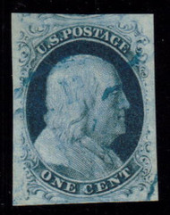 #   7 SUPERB JUMBO, w/PSE (GRADED 95 (07/06)) CERT, A beautiful example with large even margins and a very light blue cancel.  Looks a bit nicer than a 95 maybe a JUMBO, You just do not see Classics with these margins and freshness  A SHOWPIECE!
