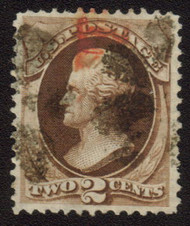 # 157 XF-SUPERB, a lovely stamp with both black and red cancels,  nice large even margins.   Select!