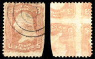 #  65e VF used, PRINTED ON BOTH SIDES, reverse inverted with full impression,  a super rare and sought after Error, this example shows the more desirable four stamps INVERTED REVERSE (3 known), all together only 12 used are known,  most have flaws, s