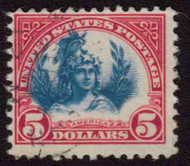 # 573 F/VF, used, SHIFTED CENTER,  very faint cancel