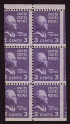 # 807a 3c Thomas Jefferson, OG NH, Miscut Booklet Pane of 6