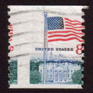 #1338G 8c Flag, Misperfed, Used n6216