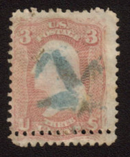 #  65 F/VF used, double row of perfs, lovely blue STAR cancel,  Neat Freak!