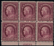 # 512 F/VF OG NH, Plate Block of 6, nicely centered and fresh plate block