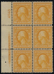 # 338 VF OG LH, Plate block of 6, lovely side plate, super fresh color and a tough plate to find this nice,  CHOICE!