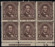 # 254 F/VF OG Hr, Bottom Plate Block of 6,  terrific color and wonderful classic plate block,  Tough to Find!