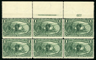 # 285 F/VF OG NH, LARGE TOP PLATE BLOCK OF 6,  Post office fresh,   SUPER RARE!