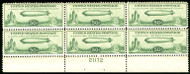 #C 18 F/VF OG NH, plate block of 6, Baby Zeppelin,  natural gum skips on 2 stamps,  Fresh!