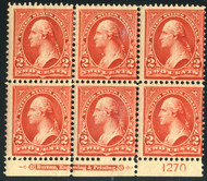 # 279B Fine OG NH/H, 5 stamps NH, Rare  Classic Plate!