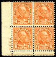 # 587 VF OG LH, very well centered plate block, Fresh!