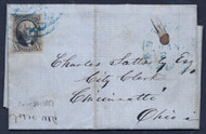 #   2 cover, 4 margins, slight tear at bottom, Jan 24, 1851, letters talks about a bond that flew away in the wind. Owner is trying to get paid for the interest.  Interesting!