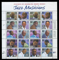 #2983 - 92, 32c Jazz Musicians,  Sheet, STOCK PHOTO