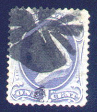 # 134 F/VF, fancy cancel, faint crease, nice stamp