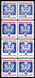 #O138A - O141 (no O139) F/VF OG NH, Nice Set of Pairs! (Stock Photo - You will receive a comparable stamp)