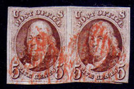 #   1 F-VF+, Pair, right stamp clipped into, otherwise a nice pair, nice cancel,  Fresh
