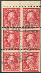 # 375a F/VF, Rare Used Booklet Pane with FULL TAB!