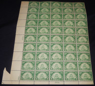 # 614 1c Huguenot - Walloon, Ship, EXTRA MARGIN, see photo, FOLD-OVER, F/VF OG NH, Sheet of 50, Post Office Fresh!   Super Sheet!