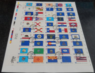 #1633 -1682 13c Flags, complete sheet, many have minor flaws due to its size, Fresh!