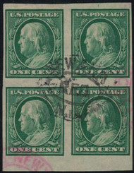 # 343 VF/XF, Block, nicely centered imperf