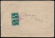 # 184 F/VF pair on fancy Valentine's day card, Embossed cover very nice